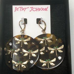 Betsey Johnson Dragon Fly Tortoise Earrings NWT